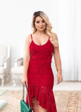 Vestido midi luxo red lace