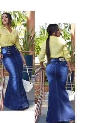Saia jeans longa elegância