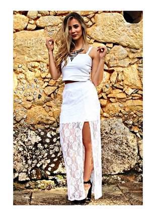 Conjunto de renda cropped e saia longa vestido feminino