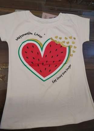 Blusa manga curta t-shirt blusinha casual camiseta melancia