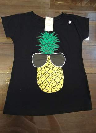 Blusa manga curta t-shirt blusinha casual camiseta abacaxi