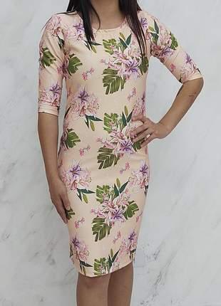 Vestido neoprene estampa digital exclusiva justo tubinho moda evangelica gospel crista