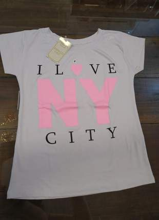 Blusa manga curta t-shirt blusinha casual camiseta nova york