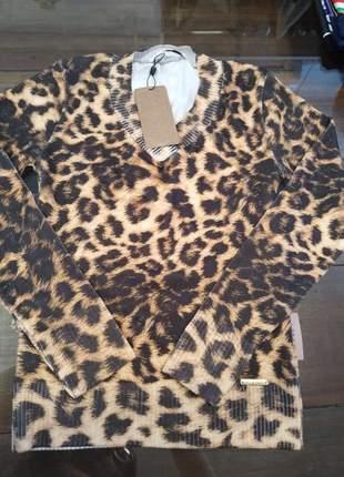 Sueter modal blusa lã tigrada animal print