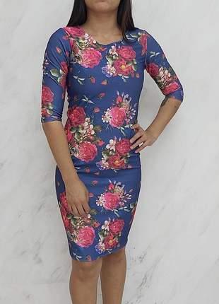 Vestido midi feminino evangelico neoprene estampa digital exclusiva