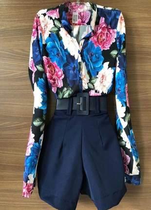 Camisa floral dark blue