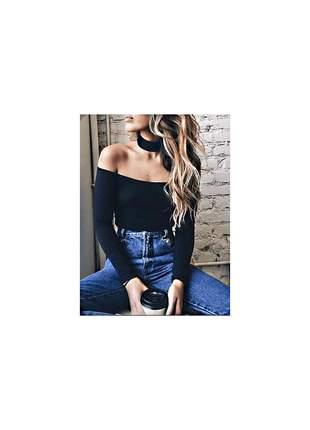 Blusa feminina manga longa ombro a ombro disponivel 9 cores