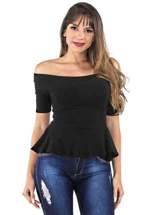 Blusa feminina ombro a ombro com babado e manga 3/4 pronta entrega