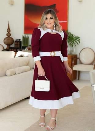 Vestido midi com cinto moda evangélica