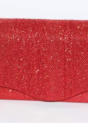 Bolsa vermelha moda festa clutch lux