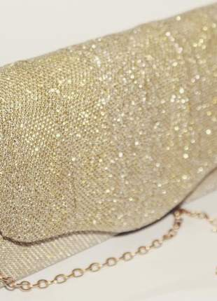 Clutch de festa bolsa de mão dourada