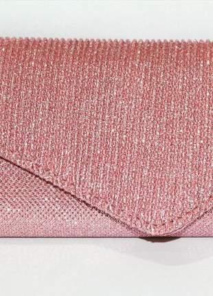 Clutch de festa bolsa de mão rosa claro