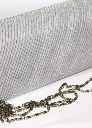 Clutch de festa prata bolsa de mão luxo chique