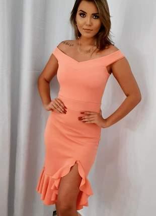 Vestido rosê babado fenda bojo festa blogueira