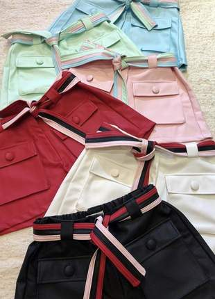 Shorts couro candy color verde ou rosa
