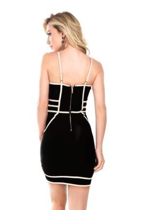 Vestido curto bandagem preto e branco