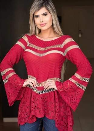 Blusa tricot manga longa outono inverno luxo