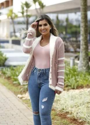 Casaco trico blusa manga longa outono inverno tricô