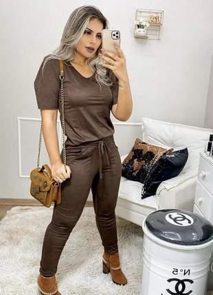 Conjunto feminino suede social veludo calça e blusa