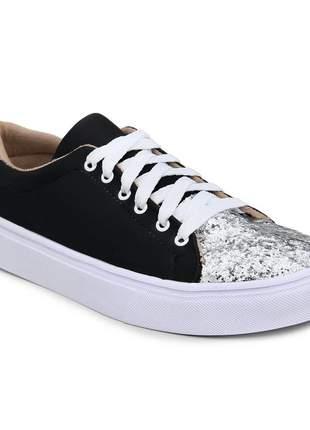 Tênis feminino sapatênis casual com glitter preto