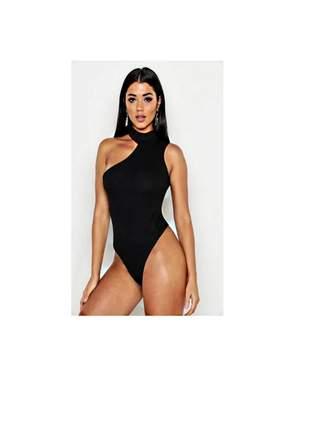 Body feminino social festa moda canelado um ombro só gola pronta entrega