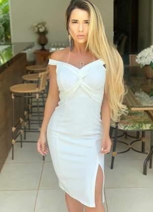 Vestido offwhite casamento civil médio fenda lateral justo blogueira