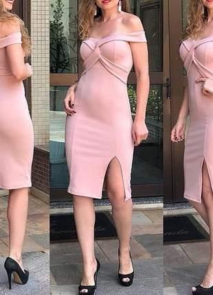 Vestido rosê médio madrinhas casamento civil blogueira justo tubinho