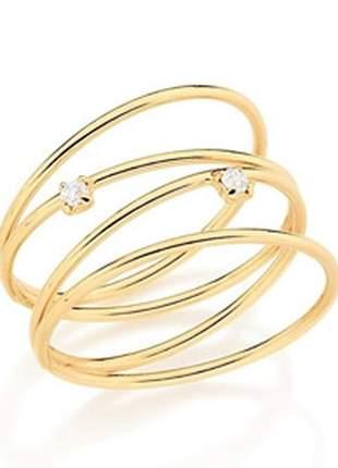Anel 4 aros finos unidos f. ouro rommanel