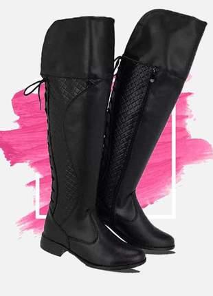 Bota over the knee sobre o joelho amarrção bota feminina +brinde