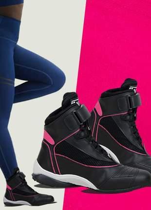 Tênis fitness botinha sneaker feminino couro legítimo treino + brinde
