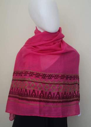 Lenço bordado pink