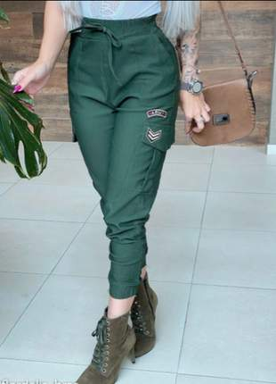 Calça jogger militar bengaline moda blogueira