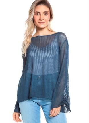 Blusa ralm em ponto rendado com manga flare - azul