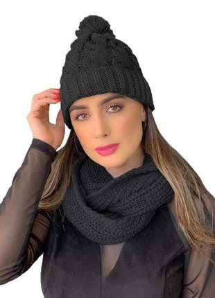 Kit touca gorro tricot +cachecol gola feminino ref:991 (preto)