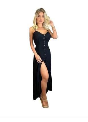 Vestido longo soltinho com botão um arraso