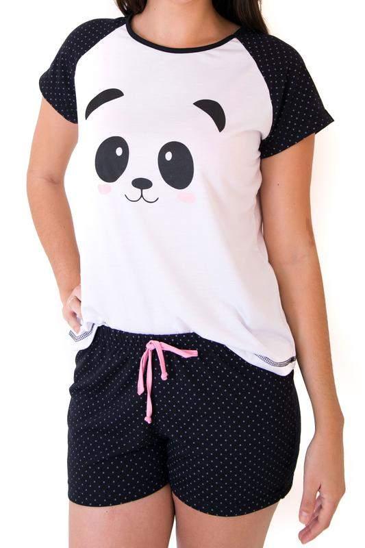 daa7b909c5 Pijama de panda feminino curto com shorts - R  59.90  6380