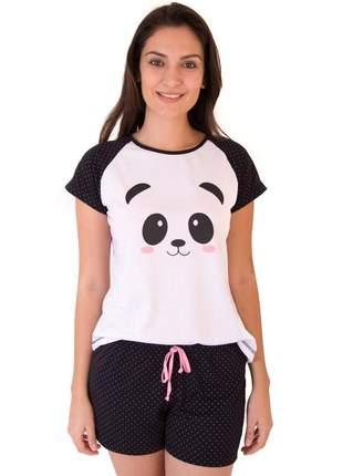 Pijama de panda feminino curto com shorts