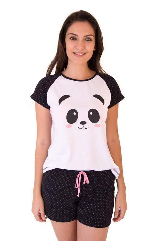 356e97b64 Pijama de panda feminino curto com shorts - R$ 59.90 #6380, compre ...