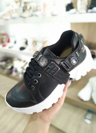 Tênis feminino plataforma sneakers  pedraria  preto