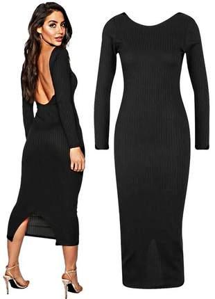 Vestido midi feminino social festa costa nua com fenda pronta entrega