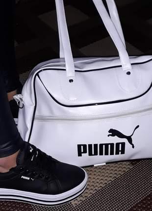 Kit bolsa branca e tênis plataforma preto