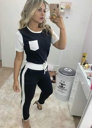 Conjunto feminino calça e blusa social preto e branco manga curta