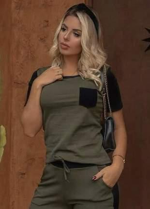 Conjunto feminino social verde liso calça e blusa