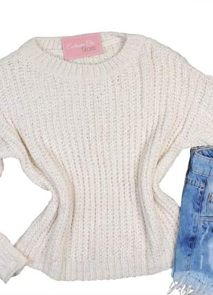 Blusa feminina casaco tricot fio mousse manga longa creme ca12