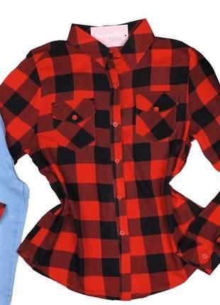 Blusa camisa feminina xadrez manga longa cs33