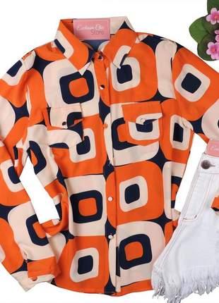 Blusa camisa social feminina estampada manga longa cs39
