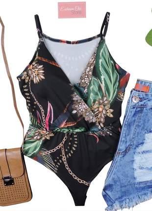Blusa body feminino estampado decote com bojo bd36