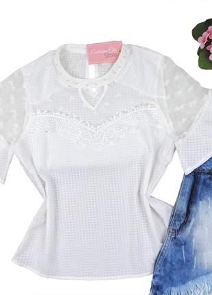Blusa feminina social com pedraria detalhe tule branca bs058