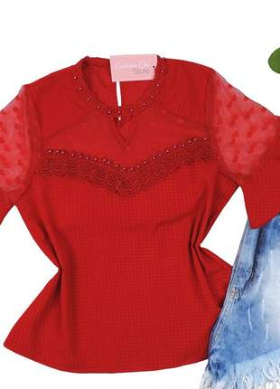 Blusa feminina social com pedraria detalhe tule vermelha bs059