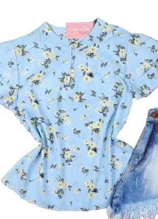 Blusa feminina social floral manga curta bs277